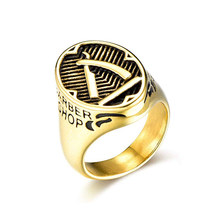 Pria Stainless Steel Hip Hop Fashion Toko Tukang Cukur Razor Pola Terukir Retro Punk Ring(China)