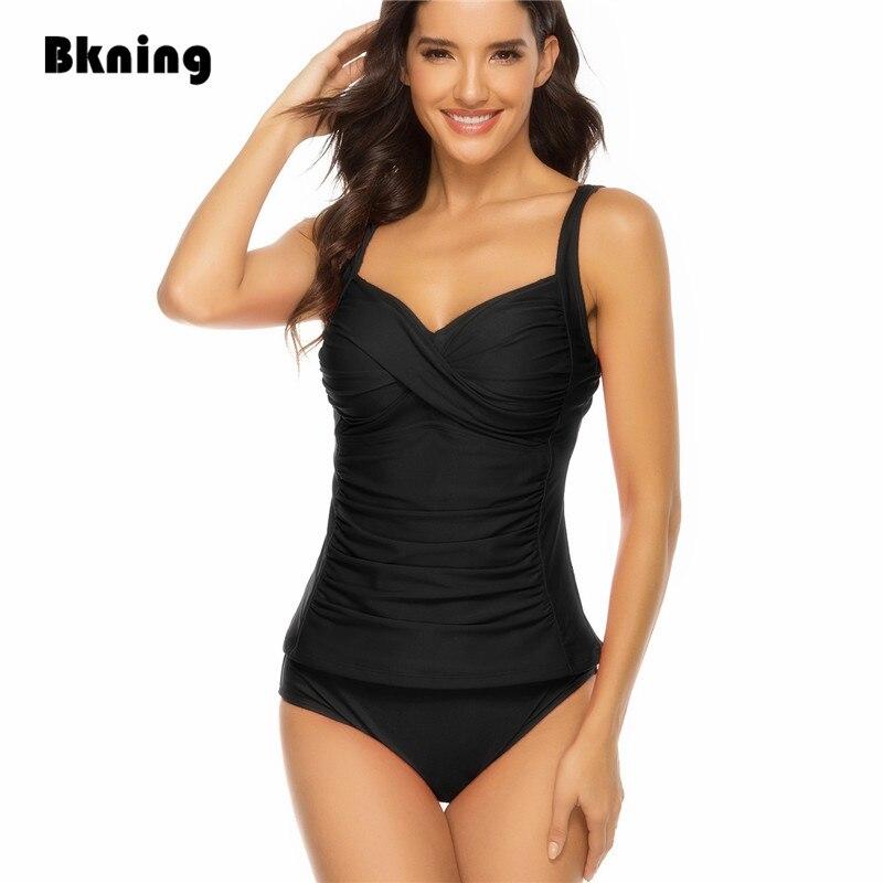 Black Swimsuit Two Pieces Plus Size Tankini Women Twist Bikinis Set 2020 Summer Beach Bodysuit 2 Piece Solid Bikini Green Fused