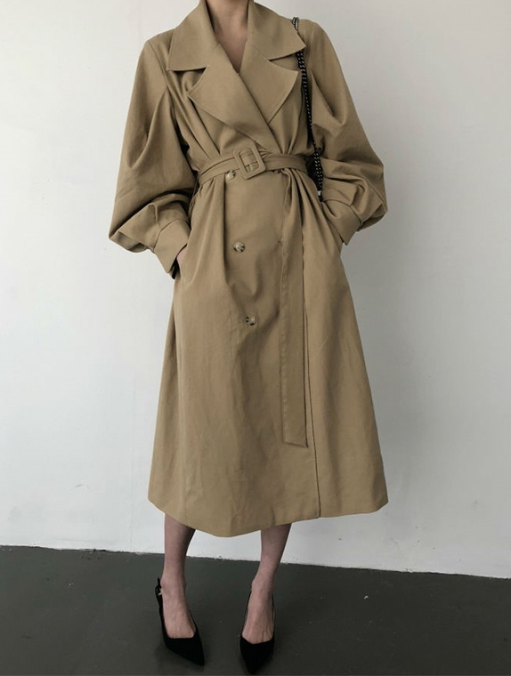 Obrix Casual Style Female Vintage Trench V-Neck Double Breasted Full Sleeve Pockets Belt Trench For Women