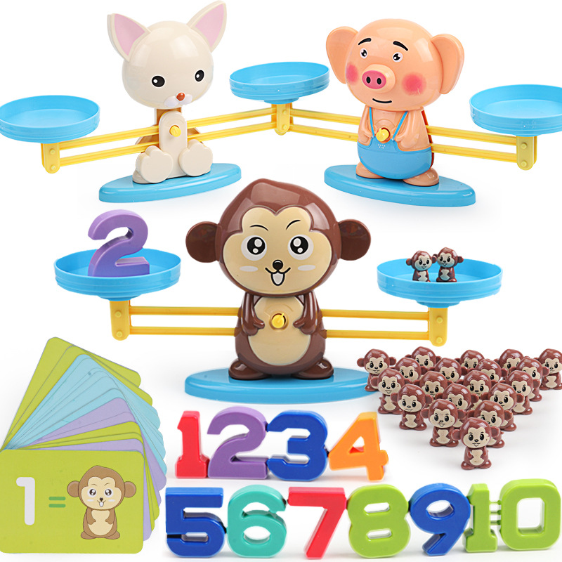 Montessori Math Match Game Board Toys Monkey Puppy Balancing Scale Number Balance Games Baby Learning Toy Animal Action Figures