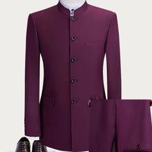 Suits Bridegroom Casual-Stand Wedding Custom Mens Red 2pc Collar Rose Slim-Fit Party