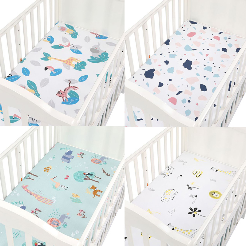 100% Cotton Crib Fitted Sheets  Infant Bedding Set Kids Mini Cot Sheet Soft Baby Bed Mattress Covers Printed Newborn