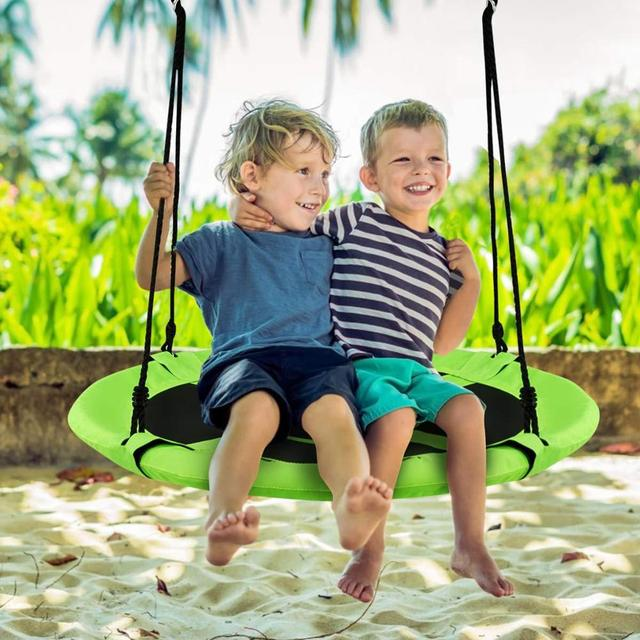 Childs Toddler Adjustable Outdoor Garden Rope Safety Safe Swing Seat Kids Toys Childrens Plastic Round Swing Seat Hanging Ailin home Suitable For 4-7 Years Old