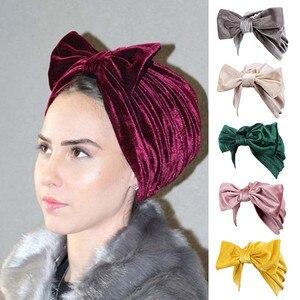 Image 1 - Fashion Women Bow bowknot Hijab Velvet Cap Chemo Hat Headband Muslim Turban Bandanas for Wedding Party Hair Accessories mujer