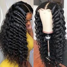 Wig Lace-Frontal-Closure Human-Hair Curly Deep-Wave Black 4x4 for Women