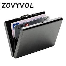 Zovyvol caixa de metal de alumínio de aço inoxidável caso titular do cartão de crédito de negócios caso capa feminina moeda bolsa cartão rfid carteira