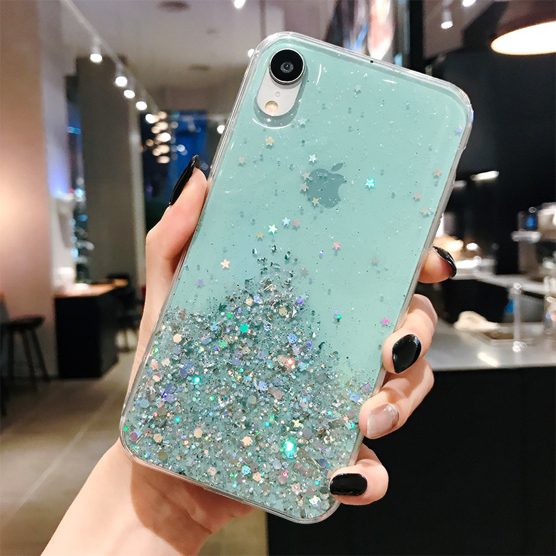 H336334355370488facf3fa8e984086f4a - WALITIAN Luxury Bling Sequins Star Glitter Phone Case Cover Case Transparent Soft TPU Fitted Case Apple Iphones