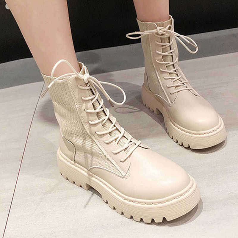 Phụ Nữ Quân Đội Chiến Đấu Mắt Cá Chân Giày Người Phụ Nữ Buộc Dây Giày Mùa Thu Đông Thương Hiệu Nền Tảng Giày Dép Nữ Da Thời Trang Giày Mới