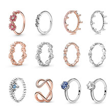 S925 Silver color Rings For Women s925 anelli flower bague femme anillos gift jewelry