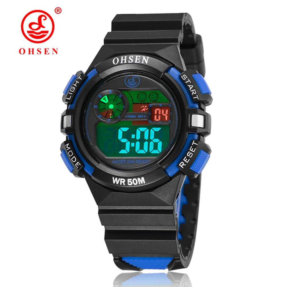2019 Digital LED Kids Boy Wristwatch Waterproof Blue Silicone Sport Children Watch Student Fashion Electronic LED Watches Gift