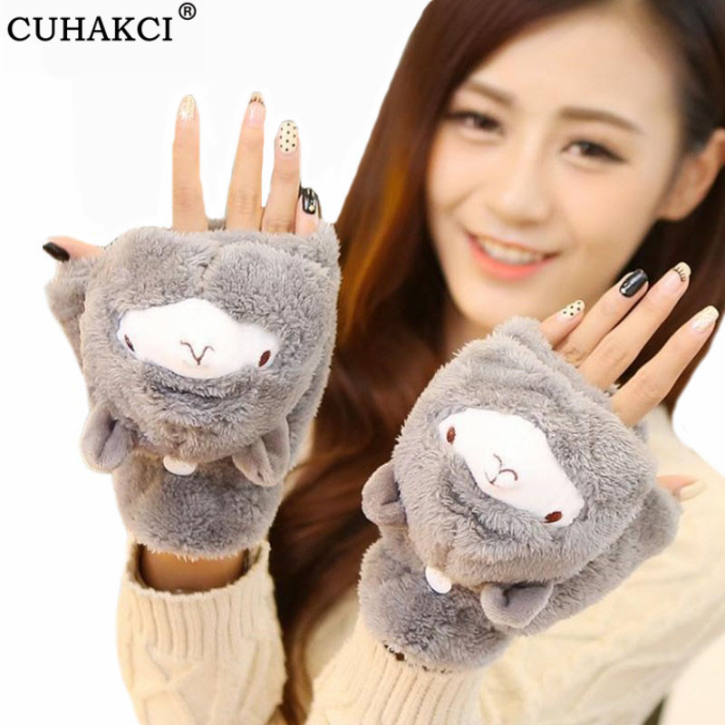 CUHAKCI Winter Cartoon Mittens Lovely Girl Animals Half Finger Gloves Alpaca Flip Twist Mittens Warm Glove Women Cute Gloves