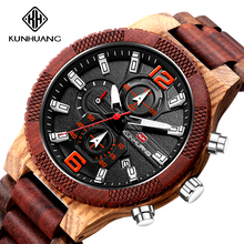 Handmade Wood Watch Men Multifunction Chronograph Military B