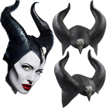 2019 Maleficent: Mistress of Evil Witch Horns Headwear Mask Cosplay Black Queen Headgear