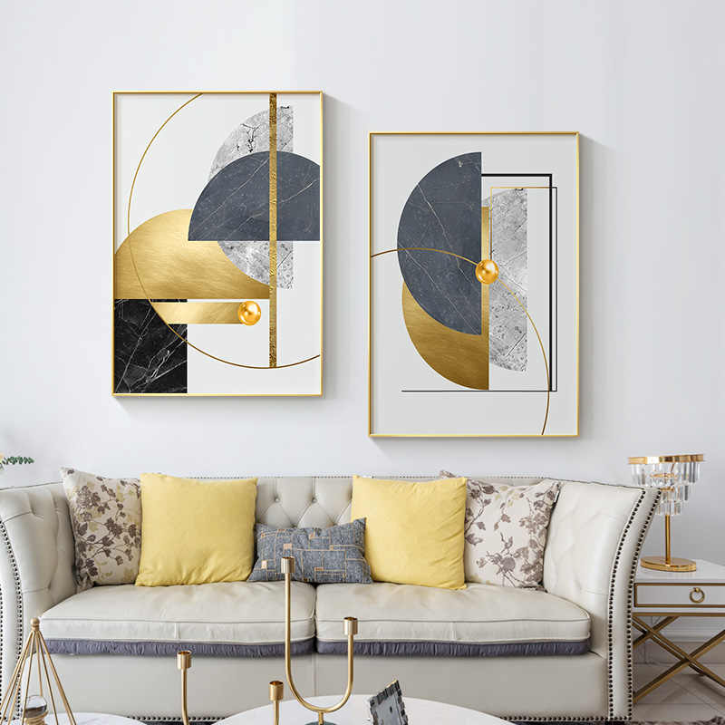 Geometric Pattern Canvas Wall Home Decor Gold Foil  Poster Art Picture Printing