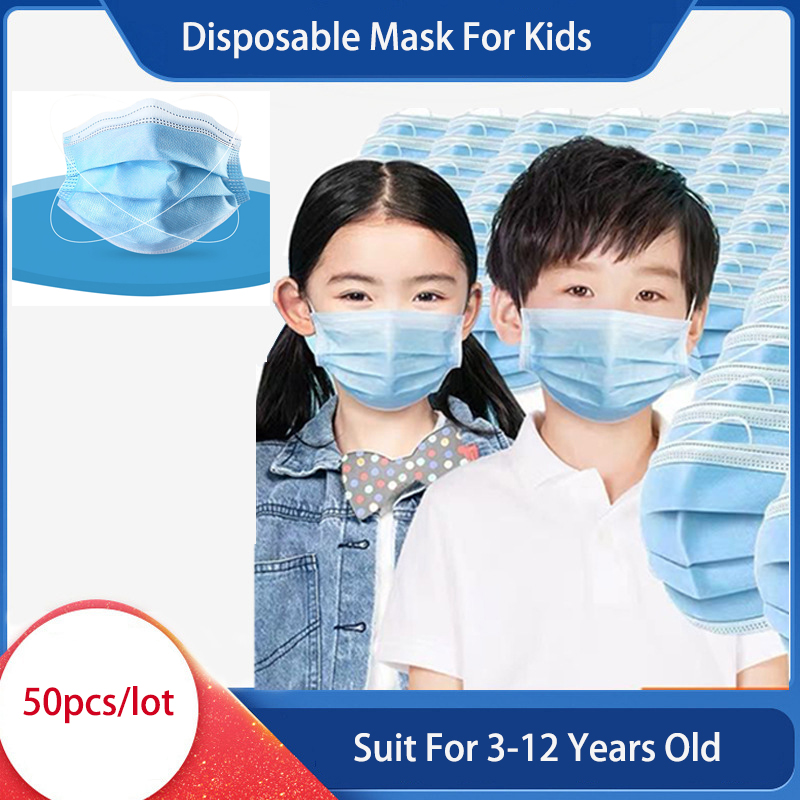 50Pcs 3 Layer Disposable Face Mask Kids Soft Breathable Anti-virus Children Face Mask Anti-pollution Fast Delivery Dropshipping