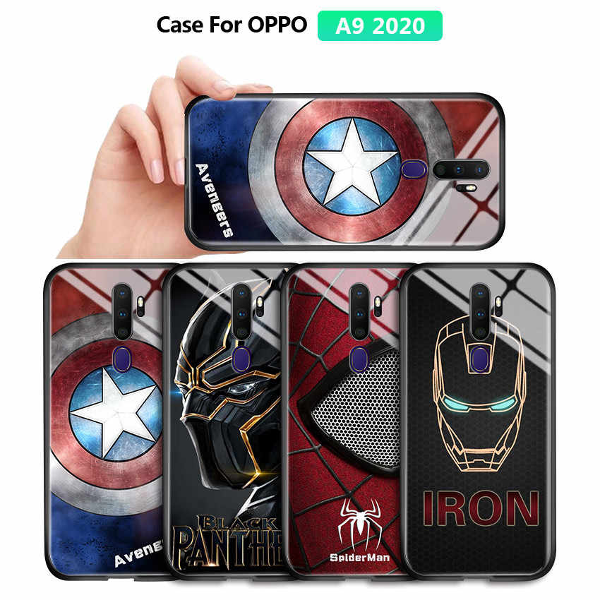 Untuk OPPO A9 2020 A5 2020 K5 Marvel Avengers Superhero Case Captain America Ironman Spiderman Kaca Tempered Kembali Casing Penutup