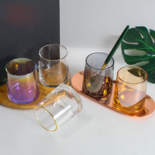 Glass Colorful Water Glass Home Thick-bottomed Whiskey Glass Lemon Cup Handmade Colorful Wind Net Red Shot Glasses Set