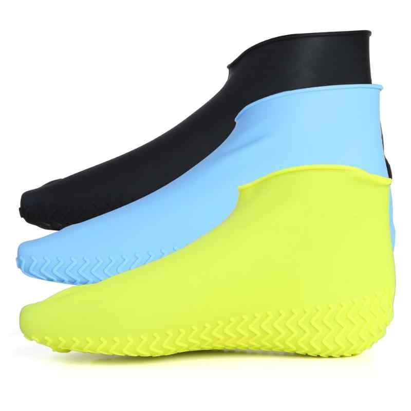 1 זוג לשימוש חוזר עמיד למים נעלי כיסוי סיליקון החלקה גשם מגפי נעלי מגיני רובוטי חיצוני רכיבה על אופניים ספורט נעל כיסוי