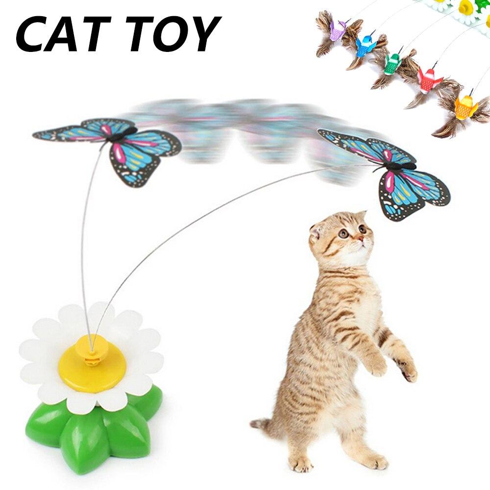 Automatische Dreh Bunte Schmetterling Lustige Katze Hund Spielzeug Elektrische Kolibri Fliegen Teasing Spielzeug für Katzen Intelligenz Trainning