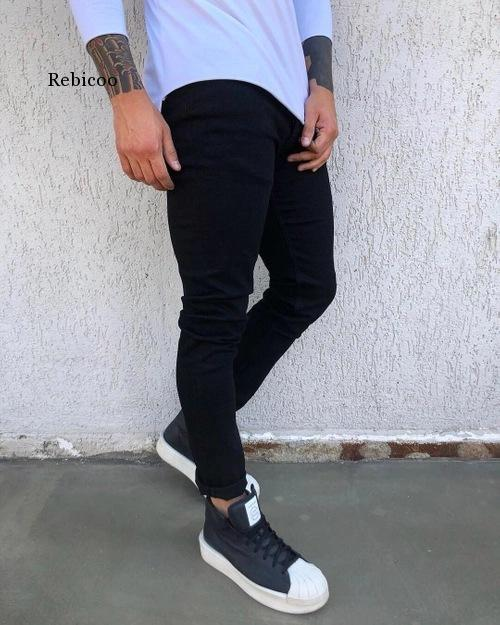 New Mens Pencil Pants 2021 Fashion Men Casual Slim Fit Straight Stretch Feet Skinny Zipper Jeans For Male Hot Sell Trousers 3