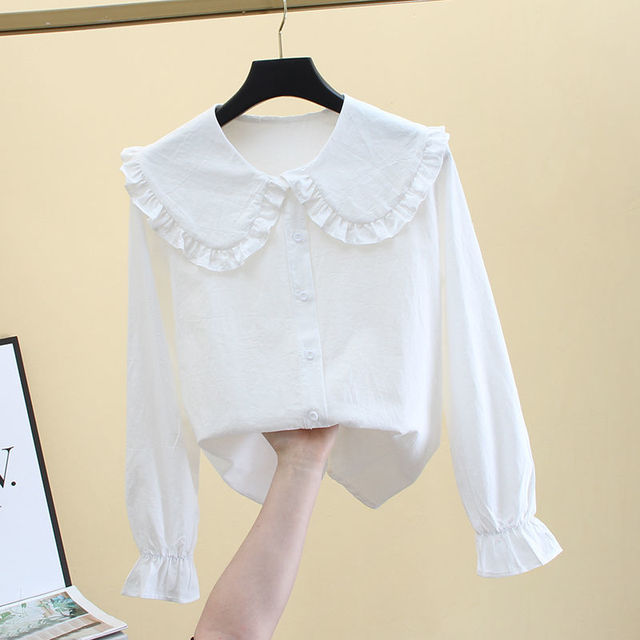 2020 New Butterfly Hollow Out Peter Pan Collar White Long Sleeve Shirt Blouse Sweet Chiffon Solid Korean Fashion Clothing K147 3
