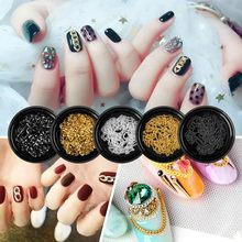 1 Box Nail Art Metal Gold Silver Multi-shape Chains Studs Glitter 3D Charms Spangles Decoration Tool(China)