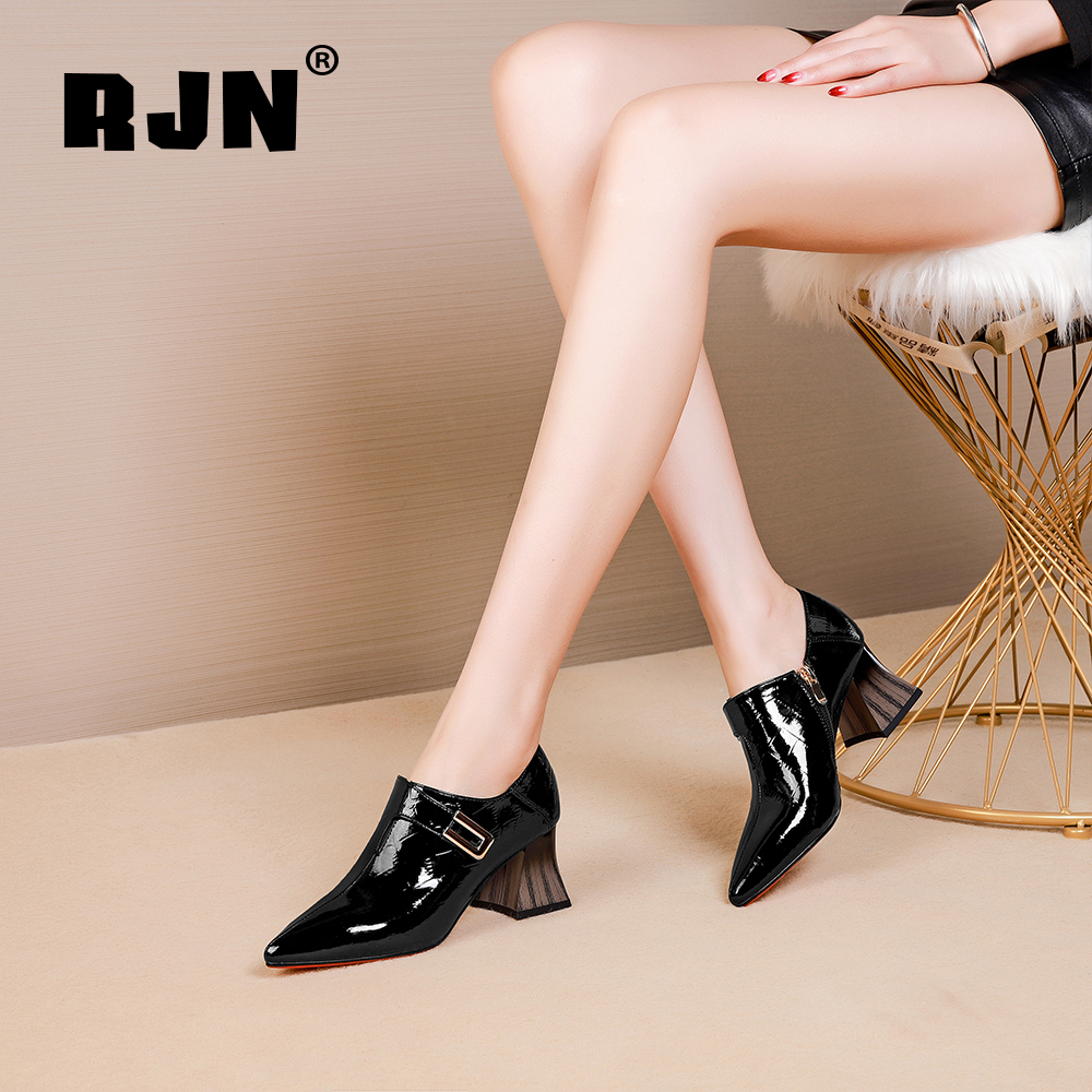 Cheap RJN Sexy Pointed Toe Pumps Matel Decoration Stylish Wood Grain High Heel Shoes Zipper Pantent Leather Mature Women Pumps RO28