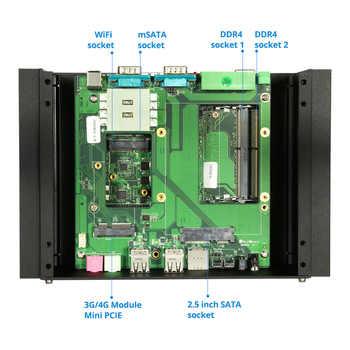Mini PC Intel Core i5 8350U 7200U i7 7500U DDR4 RAM Fanless 2*RS485/232 Dual LAN HDMI WiFi 8*USB Windows Linux Nettop Computer