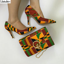Newest Ankara wax fabric kente style high quality women handbag matching high heel shoes hot selling wax fabric shoes sets 97-30(China)