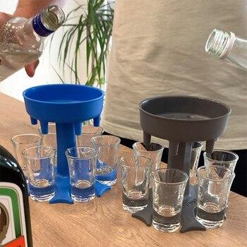 6 Shot Glass Dispenser Holder Wine Glass Rack Cooler Beer Beverage Dispenser Shot Buddys Party Gifts Bar Accessories