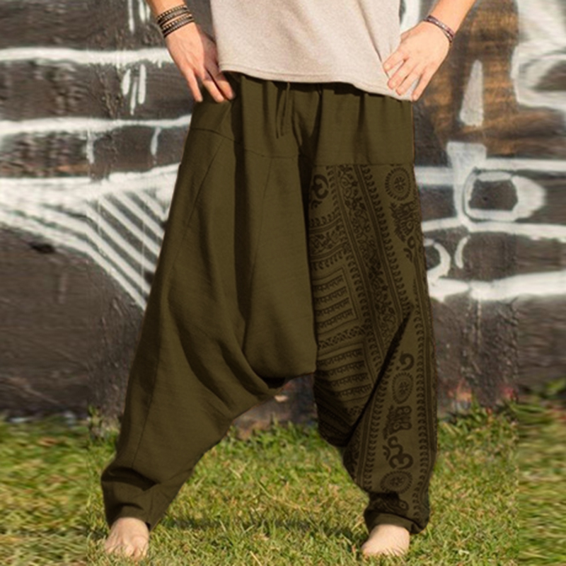 2019 New M-5XL Men Boho Baggy Hippie Drop Crotch Pants Summer Men Harem Pants Casual Elastic Waist Trousers Five Color Pants