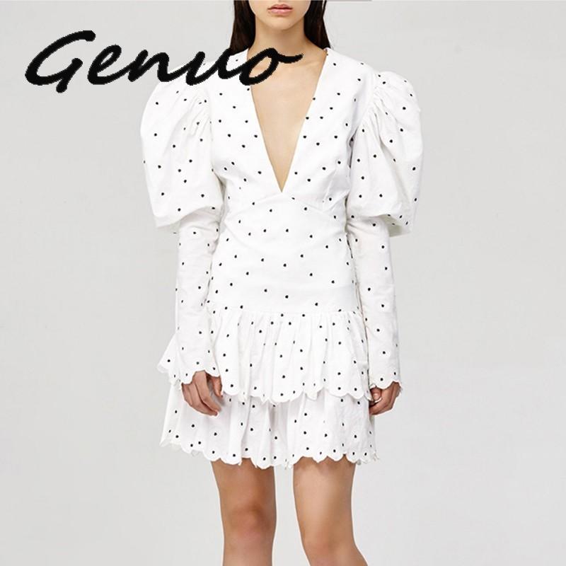 Genuo nouveau 2019 été à pois robe pour femmes col en V manches bouffantes taille haute volants Mini robes femme Fasihon vêtements 2019