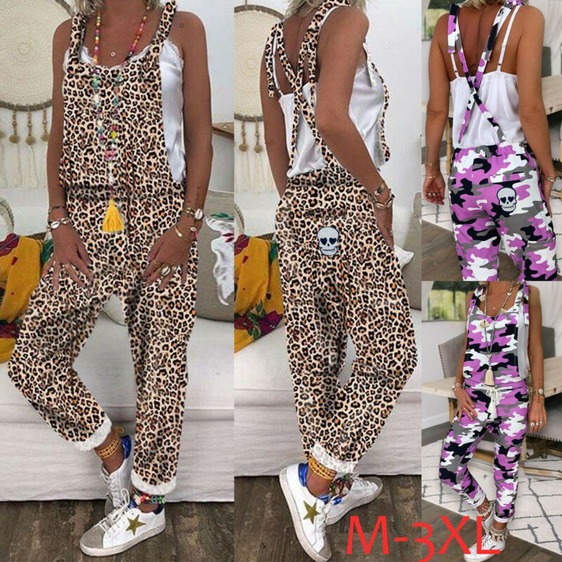 2020 HOT Summer Women Cotton Linen Jumpsuit Long Pants Leopard Camouflage Print Overalls Sleeveless Cross Strap Casual Romper