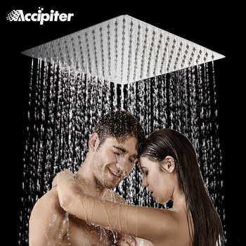 Ücretsiz kargo 40cm * 40cm kare yağış duş head.16 inç paslanmaz çelik ultra-ince tavan yağmur biçimli duş yağmur biçimli duş kafa.