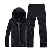Nieuwe Komen Mode Winter Running Sets Plus Fluwelen Mannen Sport Past Sportkleding Set Fitness Warme Kleding Outdwear Trainingspak(China)