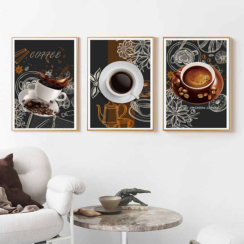TAAWAA Casual Coffee Painting Canvas Wall Poster And Print Nordic Picture Art Style Modern Office Living Room Decorative