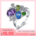 JewelryPalace Flower Genuine Amethyst Swiss Blue Topaz Peridot Chrome Diopside Open Adjustable Cocktail Ring 925 Sterling Silver