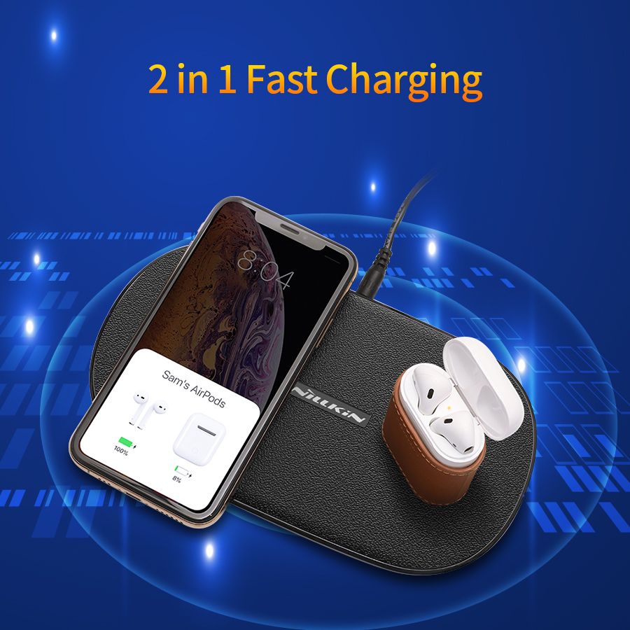 NILLKIN Dual Wireless Charger Fast Charging Pad 2 In 1 For IPhone 11/11 Pro/11 Pro Max/X/XS For Samsung S20/11/10/9/8 For Xiaomi