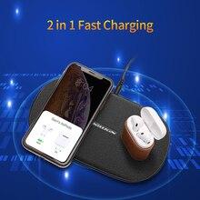 Nillkin carregador sem fio duplo almofada de carregamento rápido 2 em 1 para o iphone 11/11 pro/11 pro max/x/xs para samsung s20/11/10/9/8 para xiaomi
