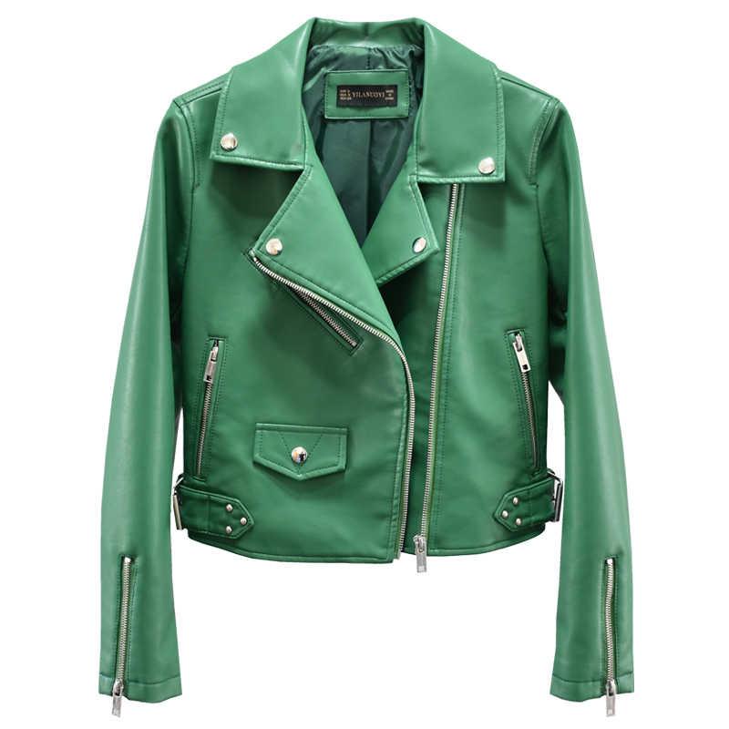 Hijau Merah Hitam Pendek Jaket Kulit untuk Wanita 2019 Cclassic Kerah Bersabuk Wanita Kulit PU Mantel Zipper Bomber Jaket Biker j493