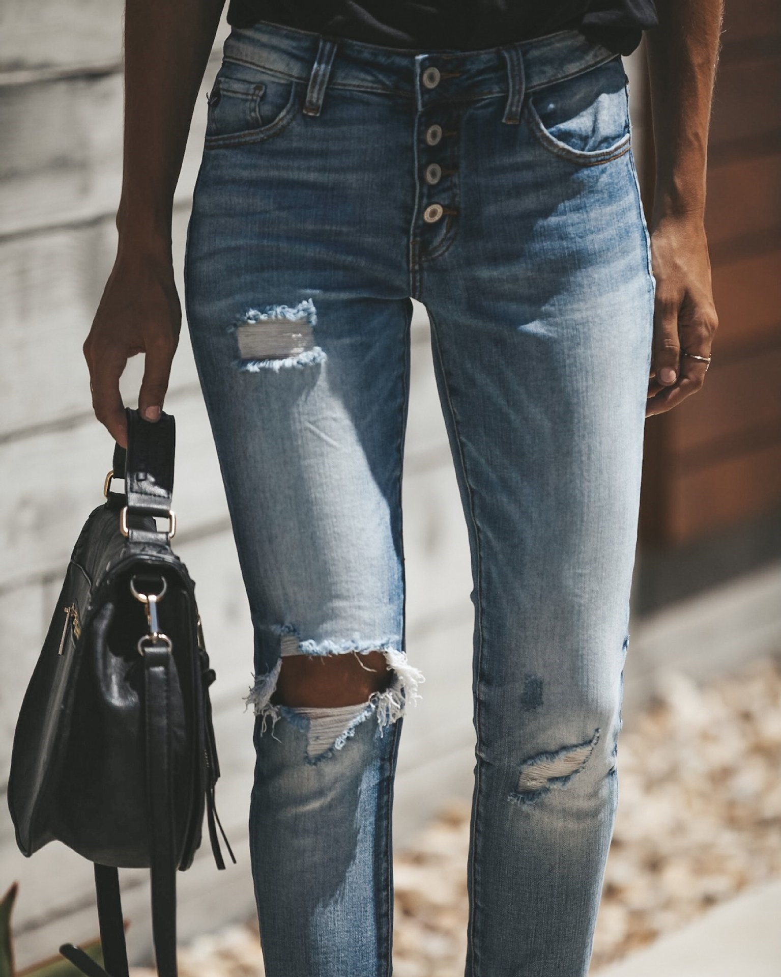 Nice Women High Waist Washed Ripped Jeans Button Skinny Denim Pencil Pants Long Casual Stretch Hole Jeans
