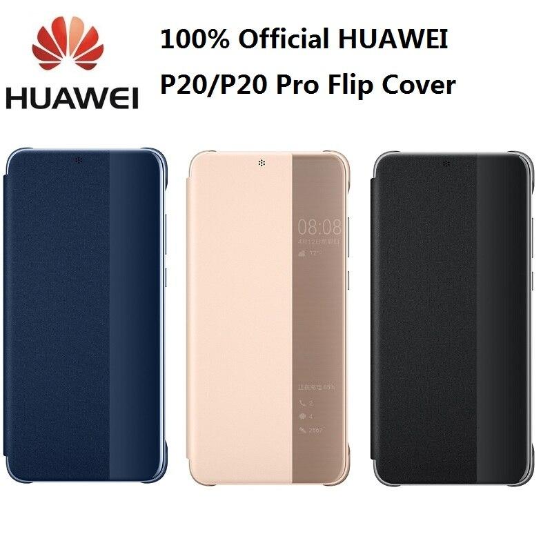 HUAWEI P20 Pro étui Original officiel vue intelligente HUAWEI P20 étui placage miroir fenêtre rabat en cuir housse de téléphone P20 carkit