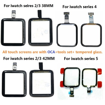 For Apple Watch Series 1 2 3 4 5 6 SE 38/42/40/44mm Touch Screen Digitizer Glass With OCA Replacement+ Tools Set+ Tempered Glass image