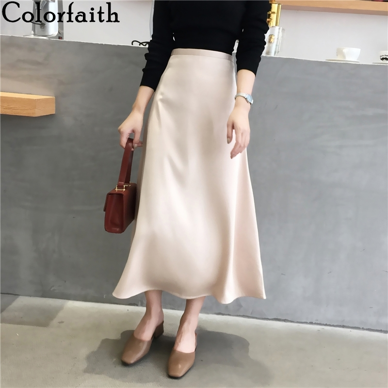 Colorfaith 2020 Women's Skirts Spring Fall Casual Vintage Solid Multi Colors High Waist Ankle-Length A-Line Satin Skirts SK896