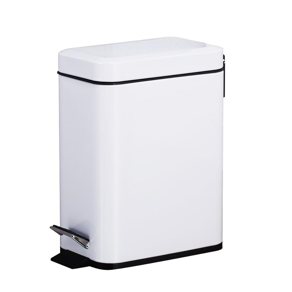 5L/1.3 Gallon Metal Pedal Style Dust Bin Waste Basket Trash Can Garbage Recycle Bin Silent Lid Removable Inner Bucket White