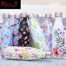 500ml Flamingo Double Stainless Steel Water Bottle Vacuum Cup Insulated Coffee Thermos Sport Travel Thermo BottleDrink Bottle