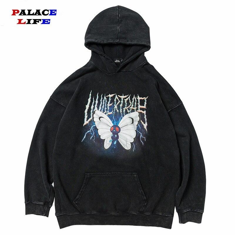 2020 Men Hip Hop Hoodie Sweatshirt Lightning Butterfly Streetwear Hoodie Vintage Washed Black Hooded Pullover Cotton Harajuku