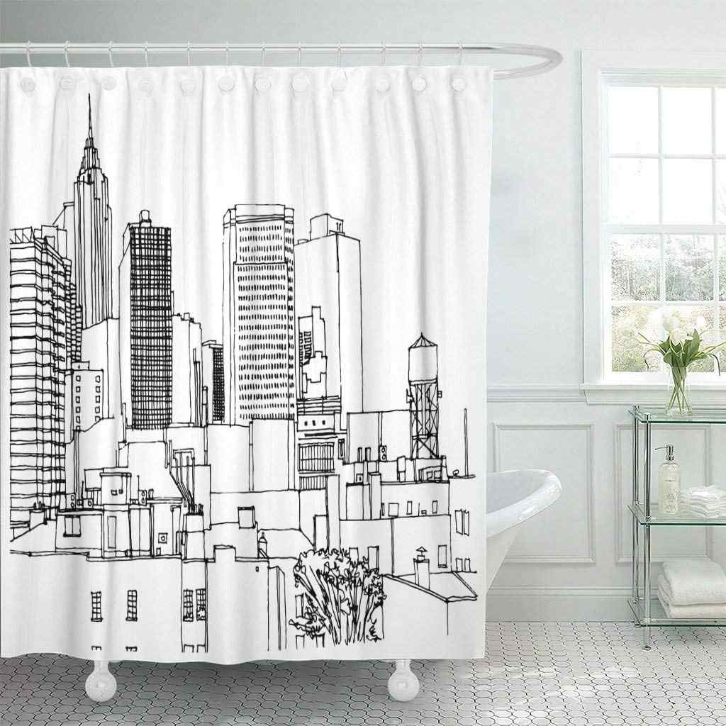 scene street ink line sketch new york city buildings shower curtain waterproof polyester fabric 60 x 72 inches with hooks