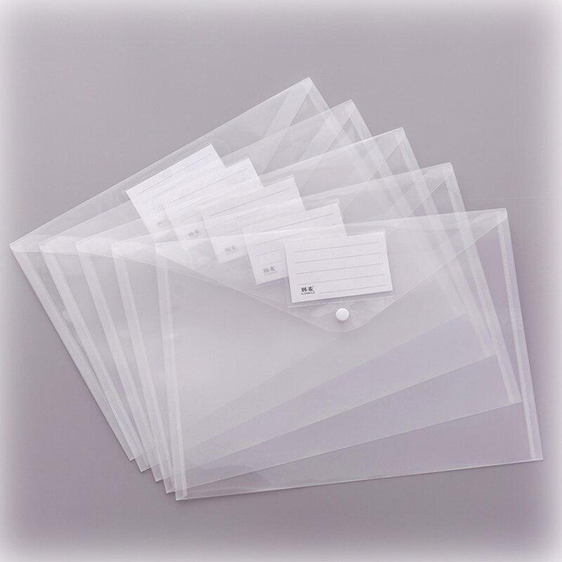 1PC A4 Transparent Folder Button File Bag Large Capacity Plastic Document Bag Office File School Test Paper Storage Bag