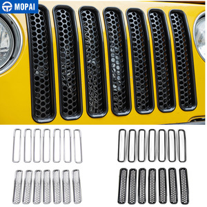Image 1 - MOPAI For Jeep Wrangler TJ 1997 2006 Mesh Front Insert Grille Cover Trim Car Exterior Decoration ABS Stickers Car Styling
